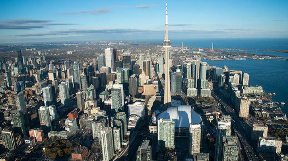 A bird's eye view of Toronto downtown.