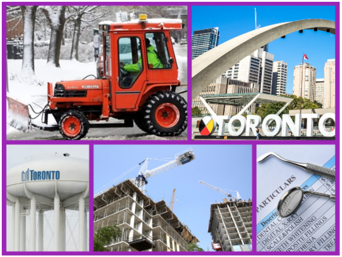 Picture of a snow plow, Toronto sign, a Toronto water tower, housing construction, and a dental invoice.